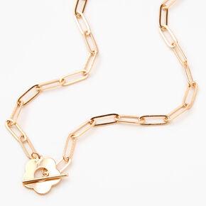 Collier à pendentif fermoir en T marguerite couleur dorée,