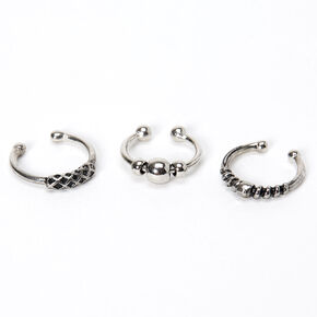 Silver Beaded Bar Faux Hoop Nose Rings - 3 Pack,
