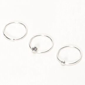 Sterling Silver 22G Bar Ball Crystal Hoop Nose Rings - 3 Pack,