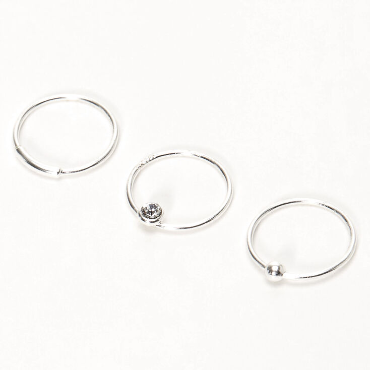 Sterling Silver 22g Bar Ball Crystal Hoop Nose Rings 3 Pack
