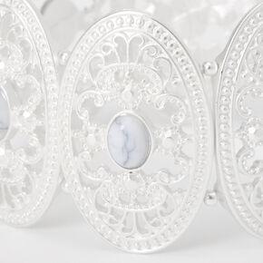 Silver Marble Stone Oval Medallion Stretch Bracelet,