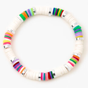 Silver Rainbow Disc Stretch Bracelet - White,