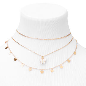 Gold Resin Butterfly Multi Strand Choker Necklaces - White, 2 Pack,