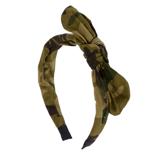 Claire's - camo top knotted bow headband - 1