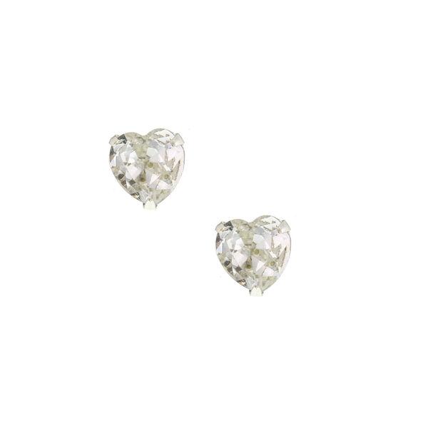 Claire's - sterling cubic zirconia 9mm heart stud earrings - 1