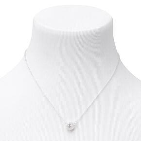 Silver Cubic Zirconia Round Halo Pendant Necklace,