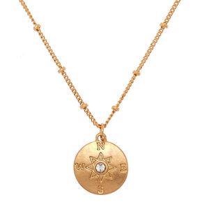 Gold Compass Pendant Necklace,