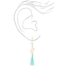"Gold 1.5"" Cactus Tassel Drop Earrings - Mint,"