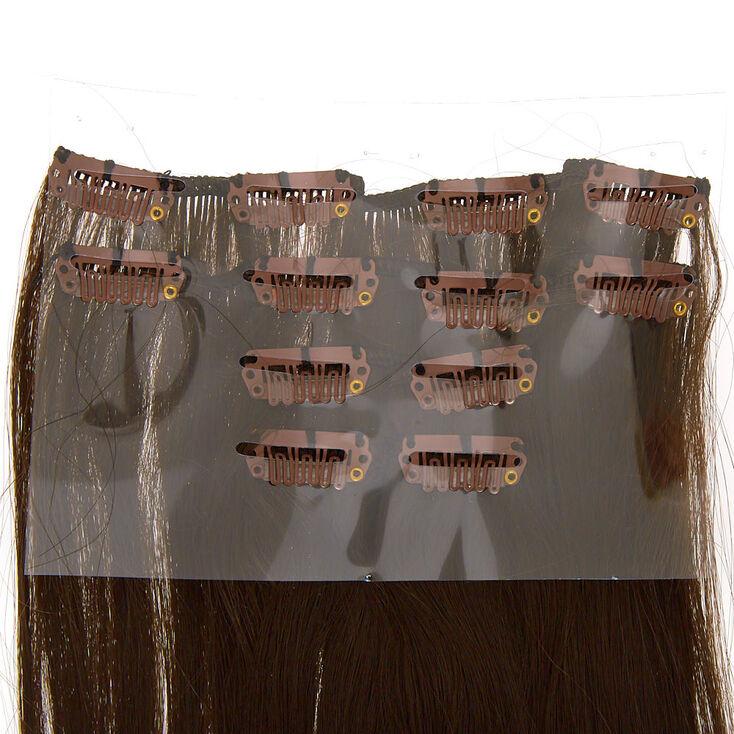 Faux Hair Clip In Extensions - Dark Brown, 4 Pack,