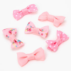 Claire's Club Spring Floral Hair Bow Clips - Pink, 6 Pack,