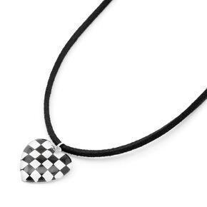 Black & White Checkered Heart Cord Pendant Necklace,