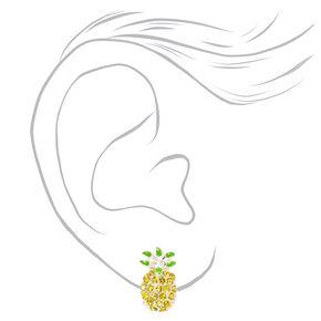 Clous d'oreilles à clip ananas avec strass couleur argentée - Jaune,