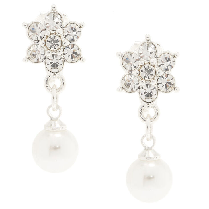 Silver Floral Pearl Clip On Earrings,