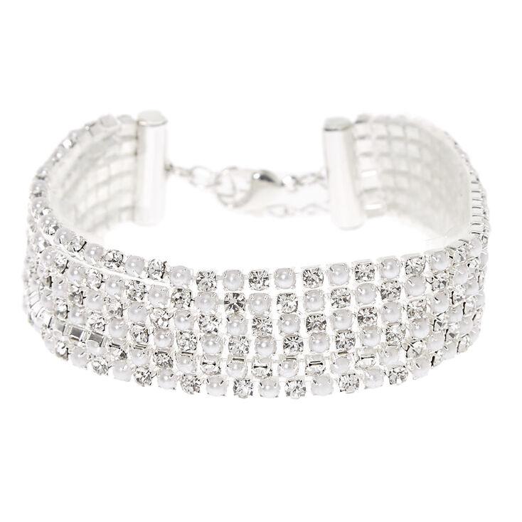Silver Pearl & Rhinestone Chain Bracelet,