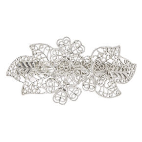 Silver Tone Filigree Floral Barrette,