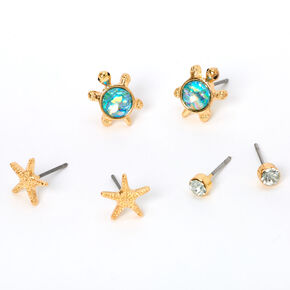 Gold Starfish Turtle Stud Earrings - Turquoise, 3 Pack,