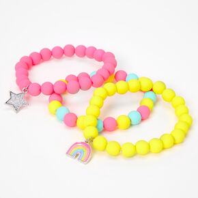 Claire's Club Rainbow Beaded Stretch Bracelets - Matte, 3 Pack,