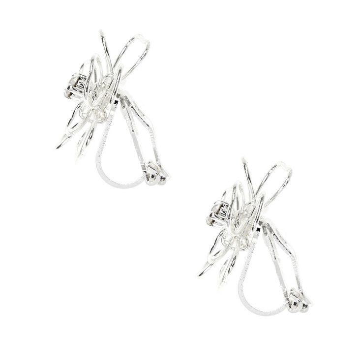 Silver Flower Clip On Stud Earrings,