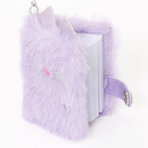 Furry Cat Mini Diary Keychain - Purple,