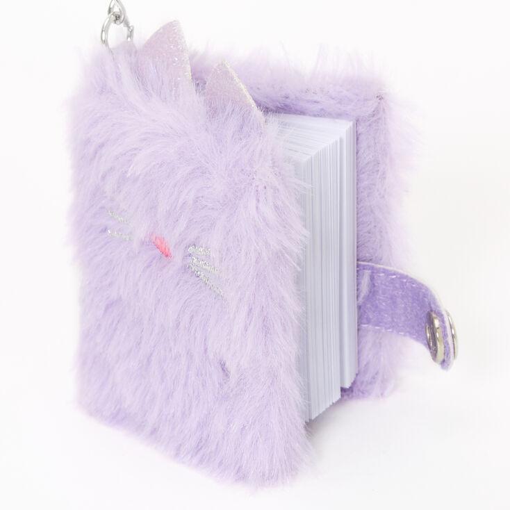 Furry Cat Mini Diary Keychain - Purple,
