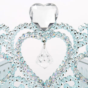 Claire's Club Princess Heart Charm Tiara - Turquoise,