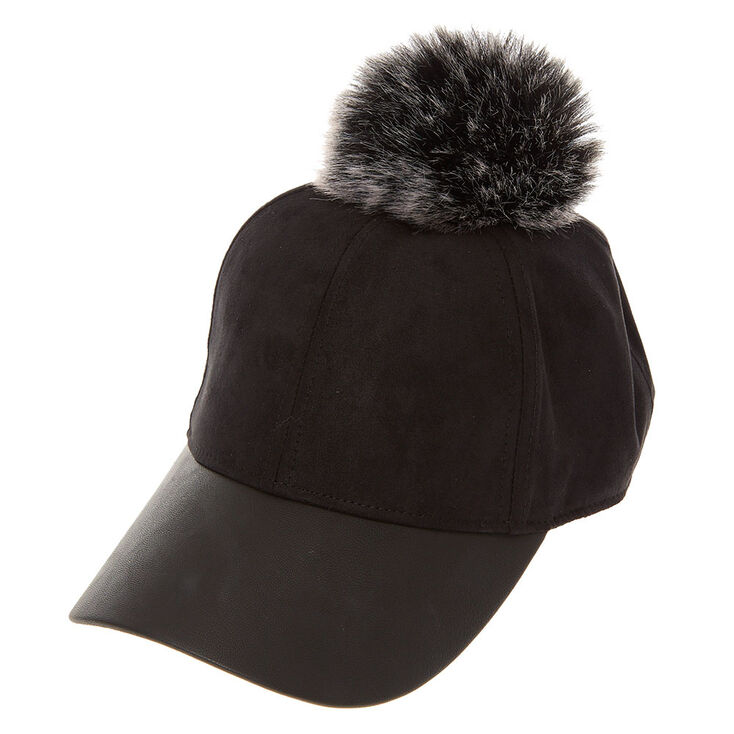 Black Faux Suede and Leather Baseball Hat with Pom  e1a5a5c3828