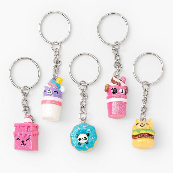 Glitter Food Critters Best Friends Keychains - 5 Pack,
