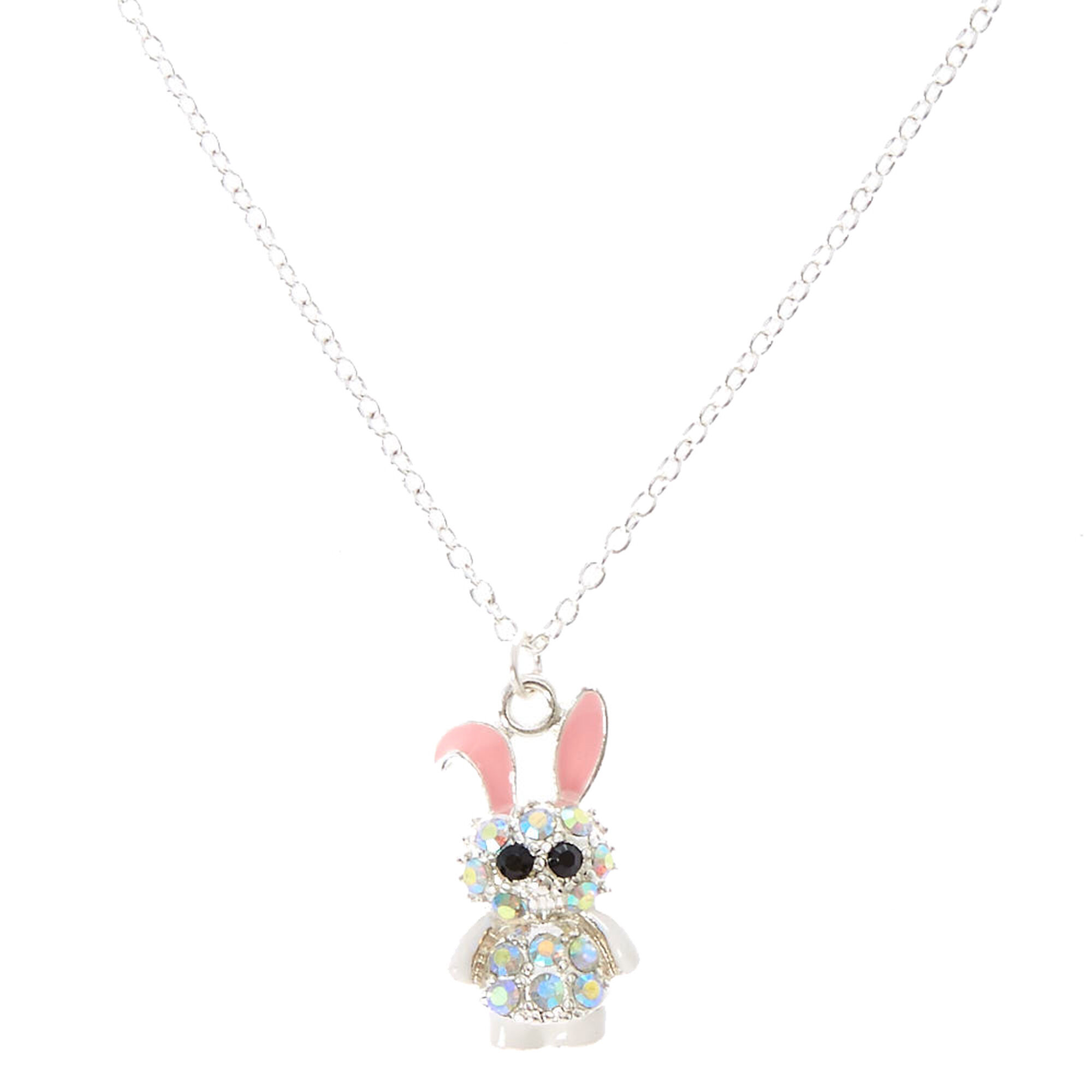 Iridescent crystal bunny pendant necklace claires iridescent crystal bunny pendant necklace aloadofball Images