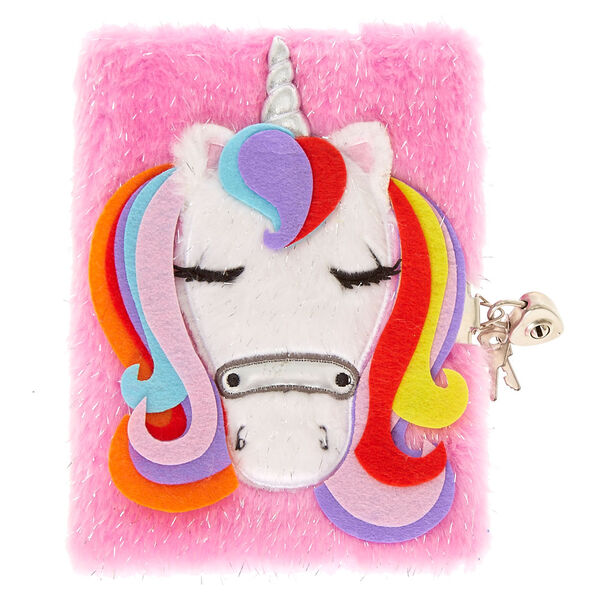 Claire's - unicorn lock soft notebook - 1