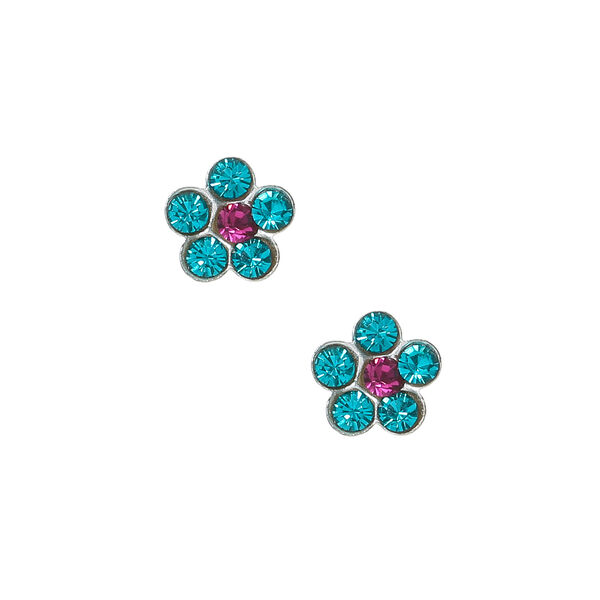 Claire's - sterling silver flower stone stud earrings - 1