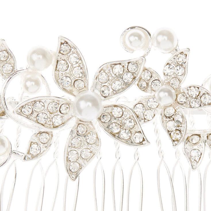 Peigne à cheveux à perles d'imitation et bouquet de fleurs,
