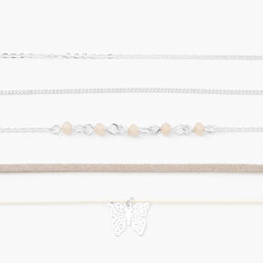 Silver Beaded Butterfly Choker Necklaces - Grey, 5 Pack,