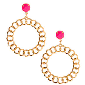 "Gold 2"" Beaded Chain Link Drop Earrings - Pink,"