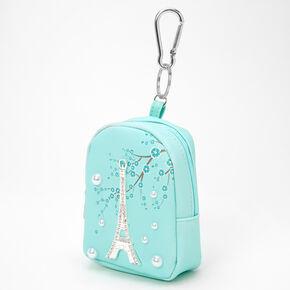 Porte-clés mini sac à dos perles d'imitation Paris - Vert menthe,