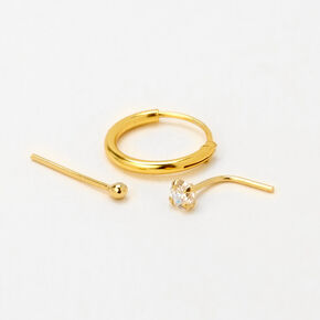 Gold Sterling Silver 22G Cubic Zirconia Stud & Hoop Nose Rings - 3 Pack,