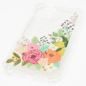 Clear Glitter Floral Phone Case - Fits iPhone® 12/12 Pro,