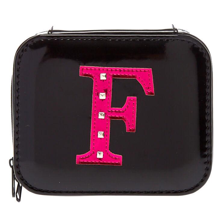 "Metallic Pink ""F"" Initial Jewelry Case,"
