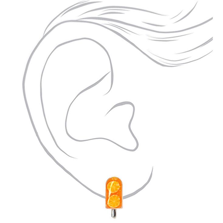 Silver Glitter Popsicle Stud Earrings - Orange,