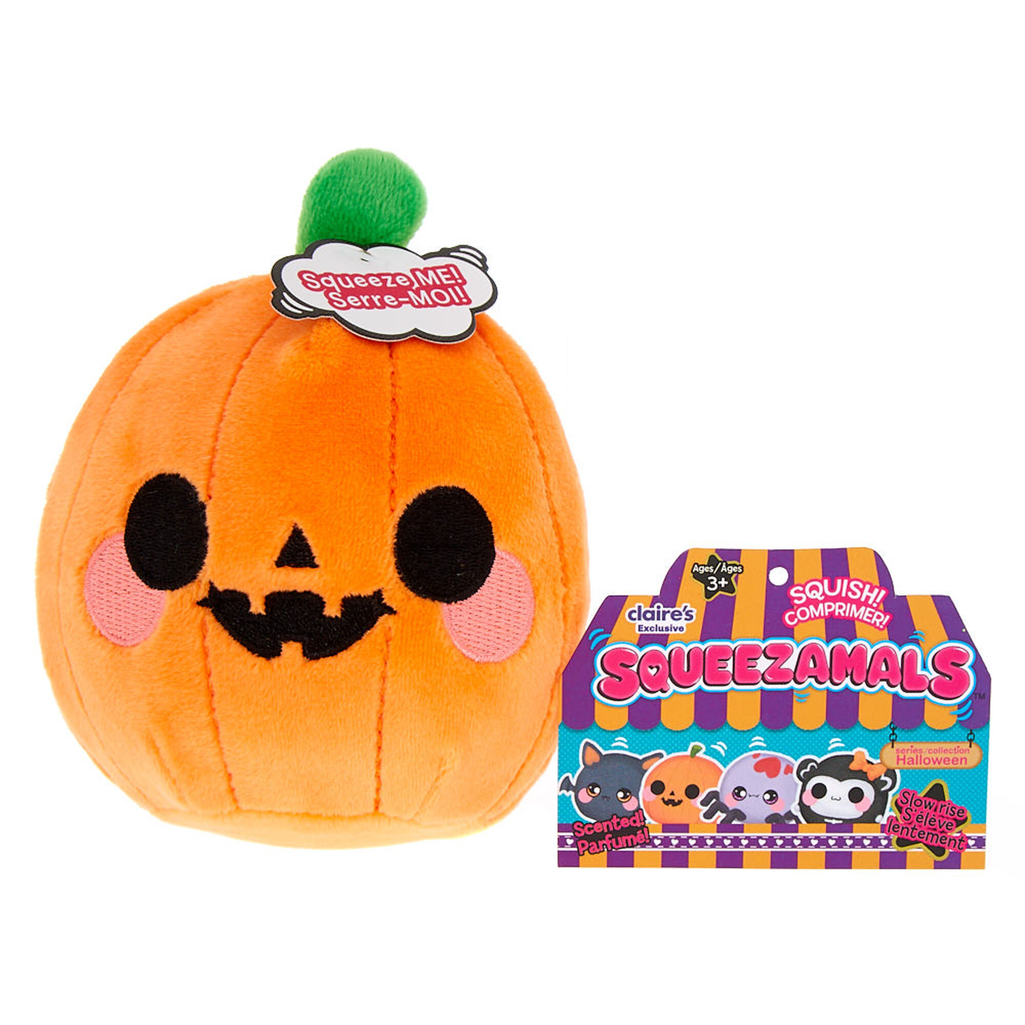 squeezamals scented peyton the pumpkin plush toy | claire's us