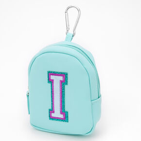 Mint Varsity Initial Mini Backpack Keychain - I,