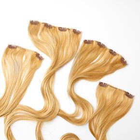 Extra Long Straight Faux Hair Clip In Extensions - Blonde, 4 Pack,