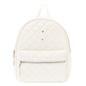 Quilted Medium Backpack - White,