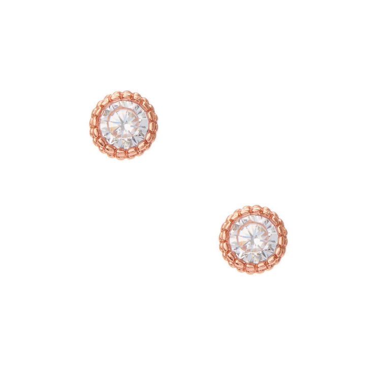 b58efd85d 18kt Rose Gold Plated Cubic Zirconia Stud Earrings | Claire's