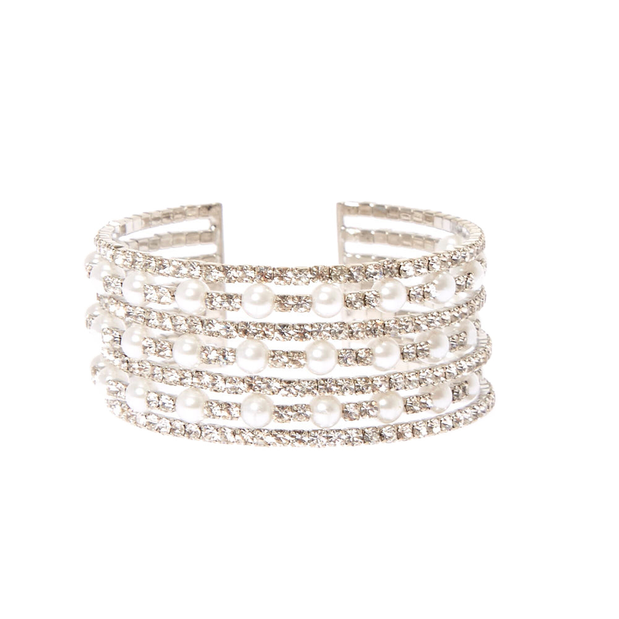 Multi Row Faux Pearl And Crystal Cuff Bracelet