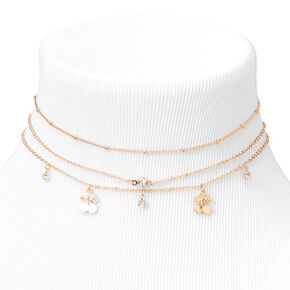 Gold Cherry Charm Choker Necklaces - 3 Pack,