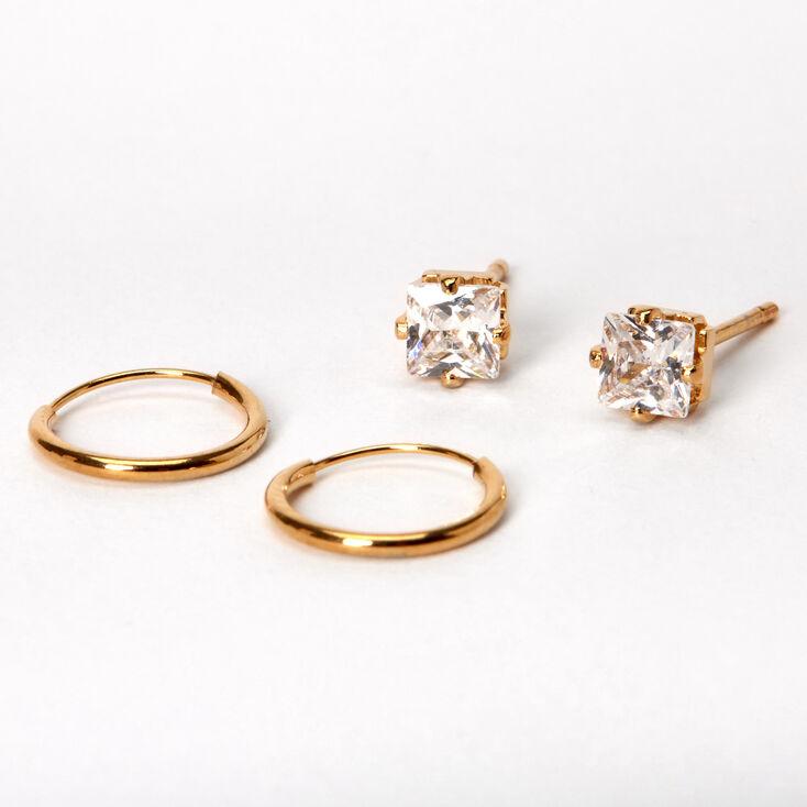 18kt Gold Plated Cubic Zirconia Stud & Hoop Earrings - 2 Pack,