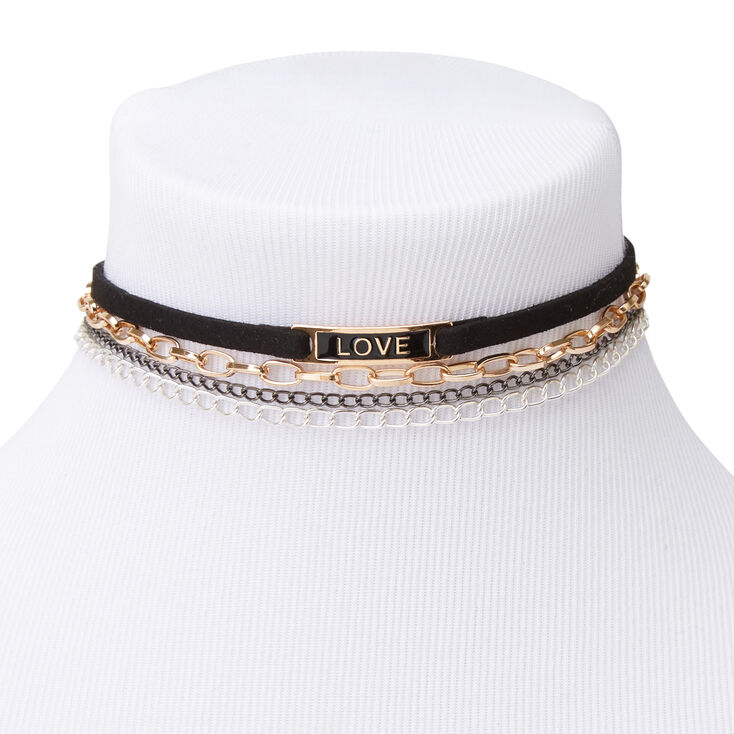 Mixed Metal Love Chain Choker Necklaces - 4 Pack,