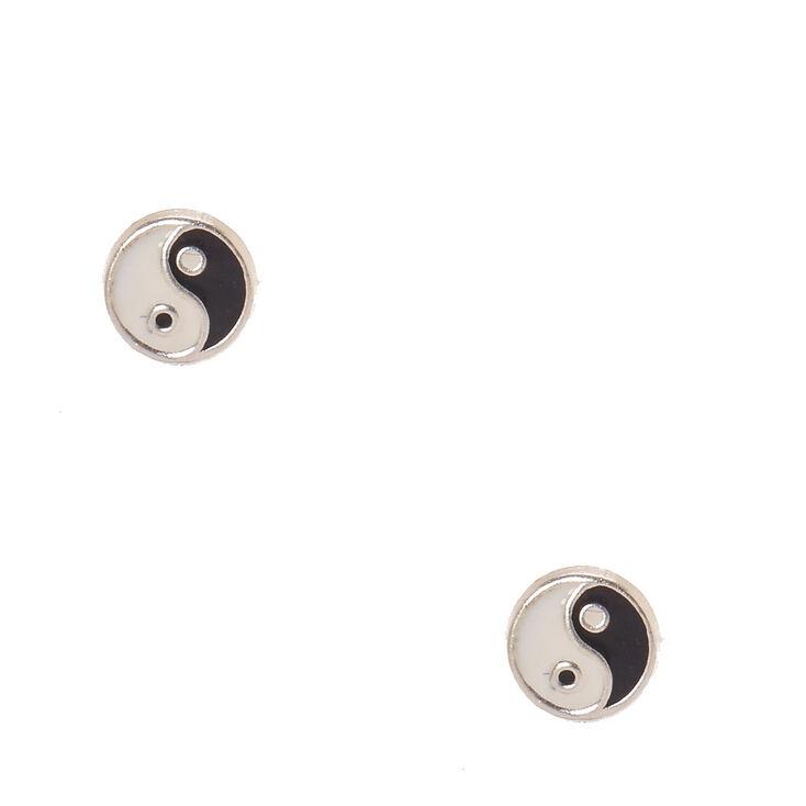 Clous d'oreille yin et yang couleur argenté,