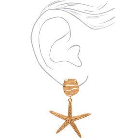 "Gold 2"" Big Starfish Drop Earrings,"