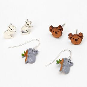 Silver Koala Bear Stud Earrings - 3 Pack,